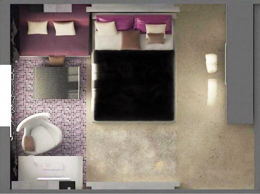 Пример интерьера прямоугольной комнаты