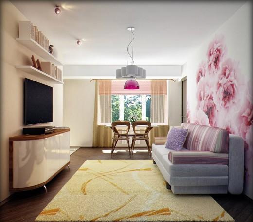 Пример оформления прямоугольной комнаты
