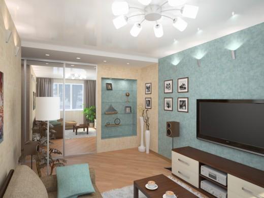Оформления дизайна прямоугольной комнаты