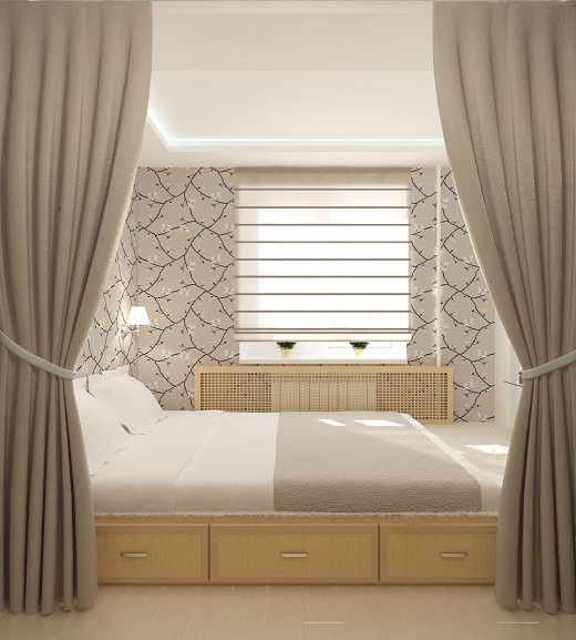 Занавески, разделяющие комнату на две зоны