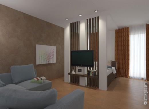 Первый вариант совмещения гостиной и спальни