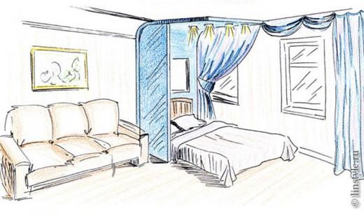 """Второй вариант """"гостиная спальня в одной комнате"""""""