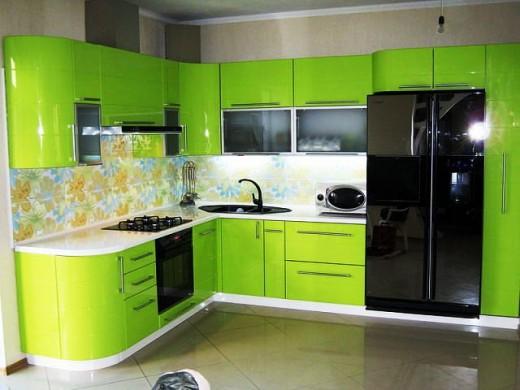 Дизайн зелёной кухни