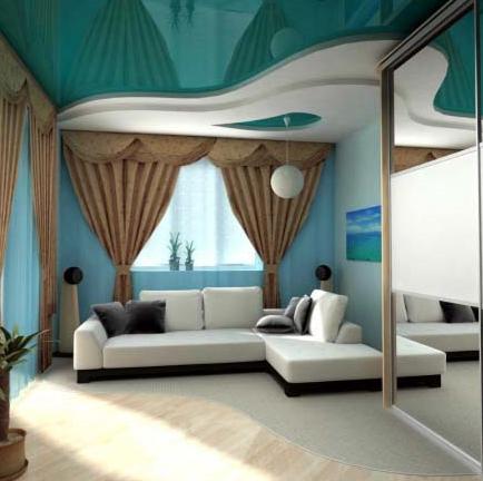 Оформление потолка в прямоугольной комнате