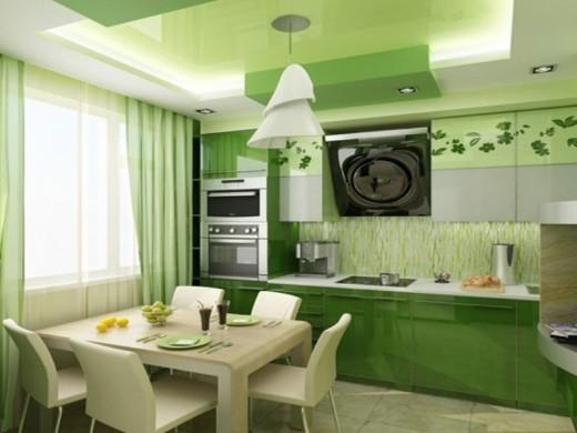 Оттенки зеленого цвета в интерьере кухни