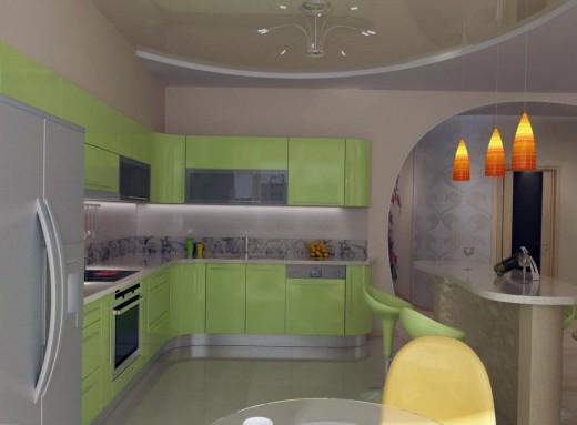 фисташковые оттенки в интерьере кухни