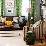 сочетание зеленого цвета в интерьере с другими цветами